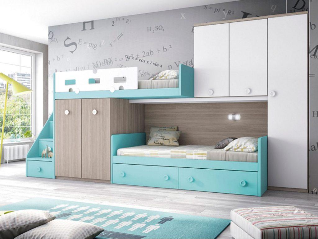 Camas literas juveniles great litera con dos camas y un - Literas para tres ...